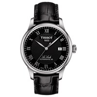 Tissot T0064071605300 'S Le Locle Date Leather Strap Watch Black