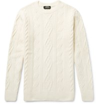 A.P.C. Jacques Yves Slim Fit Cable Knit Wool Sweater Off White