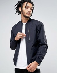 Esprit Lightweight Bomber Jacket With Chest Pocket 400 Navy