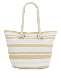Magid Striped Natural Paper Straw Tote White