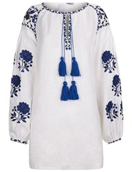 Fanm Mon White Linen Floral Embroidered Blouse