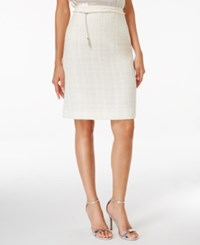Tahari By Arthur S. Levine Asl Boucle Belted Pencil Skirt White