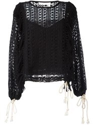 See By Chloe Crochet Blouse Black