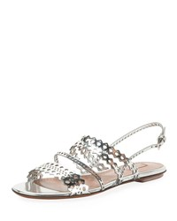 Alaia Flat Laser Cut Metallic Slingback Sandals Gray