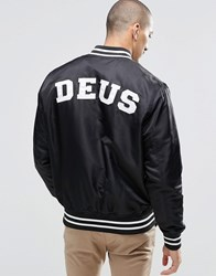 Deus Ex Machina Satin Bomber Jacket Black