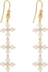 Cathy Waterman Women's Diamond And Pearl Triple Drop Earrings Colorless