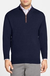 Peter Millar Leather Trim Quarter Zip Pullover Sweater
