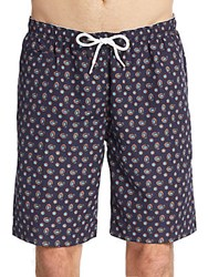 Saks Fifth Avenue Paisley Teardrop Medallion Swim Shorts Blue