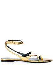 Saint Laurent Gia Open Sandals Gold