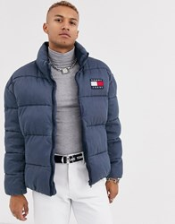 Tommy Jeans Essential Puffer Jacket In Washed Blue With Large Flag Logo