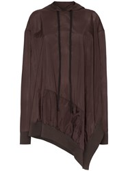 Unravel Project Asymmetric Open Side Hoodie Brown