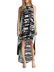 Bcbgmaxazria Printed Colorblock Tank Dress Black Combo
