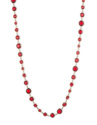 Anne Klein Epoxy Long Necklace 42In Red