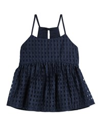 Milly Minis Strappy Mesh Gingham Tank Navy