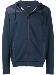 Hugo Boss Embroidered Logo Hoodie Blue
