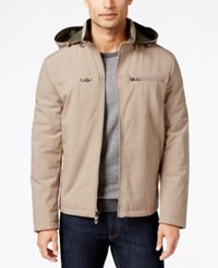 Kenneth Cole Soft Shell Bomber Jacket With Removable Hood Dune