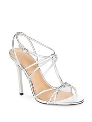 Halston Strappy Leather Pumps Silver