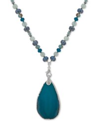 Lonna And Lilly Silver Tone Pave Stone Beaded 32 Pendant Necklace Blue