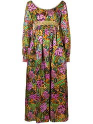 William Vintage Long Sleeve Flared Dress Pink And Purple