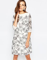 Little Mistress Illustrated Floral Tunic Dress Grey