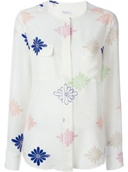 Equipment Collarless Flower Pattern Button Down Shirt White