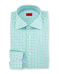 Isaia Two Tone Gingham Mitered Cuff Dress Shirt Green