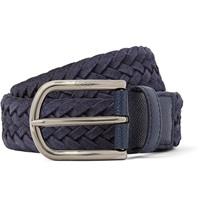 Tod's 3.5Cm Navy Woven Suede And Cross Grain Leather Belt Blue