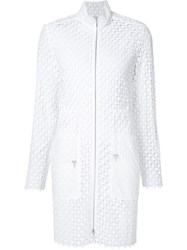 Elie Tahari Embroidered Lace Zip Coat White