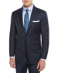 Kiton Two Piece Three Button Wool Plaid Suit Blue