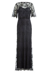Catherine Deane Floor Length Dress With Embellished Lace Overlay Top Black
