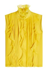 Giambattista Valli Silk Chiffon Sleeveless Blouse Yellow