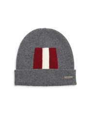 Bally Rib Knit Wool Beanie Light Grey