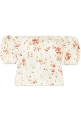 Brock Collection Boie Off The Shoulder Floral Print Silk Blouse Cream