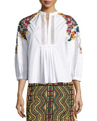 Valentino Floral Embroidered Cotton Blouse White