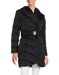 Tahari Mid Length Shawl Collar Belted Puffer Coat Black