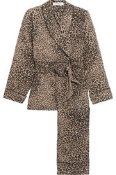 Equipment Odette Leopard Print Washed Silk Pajama Set Leopard Print