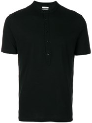 Paolo Pecora Buttoned Neck T Shirt Black