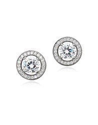 Crislu Platinum Sterling Silver And Cubic Zirconia Button Stud Earrings