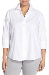 Plus Size Women's Foxcroft 'Paige' Non Iron Cotton Shirt White