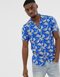 Solid Slim Fit Shirt Revere Collar Hibiscus Print Blue