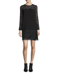 Diane Von Furstenberg Lavana Long Sleeve Lace Shift Dress Black