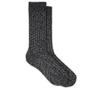 Barneys New York Rib Knit Cotton Mid Calf Socks Gray