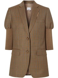 Burberry Knitted Sleeve Houndstooth Check Tailored Jacket 60
