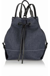 Opening Ceremony Izzy Leather Trmimed Denim Shoulder Bag Blue