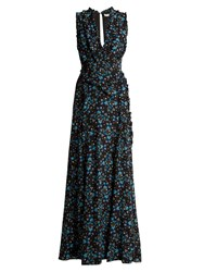 Altuzarra Medina Vine Print Silk Crepe De Chine Dress Black Print