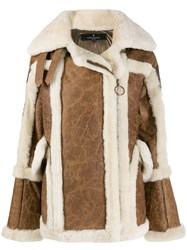 Nicole Benisti Textured Shearling Coat Brown