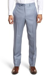 Santorelli Flat Front Solid Wool Trousers Soft Blue