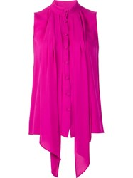 Derek Lam Button Front Sleeveless Blouse Pink And Purple