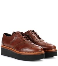 Tod's Platform Leather Oxford Shoes Brown