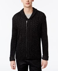 Retrofit Men's Zip Up Shawl Collar Sweater Black
